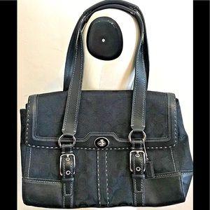 Coach Shoulder Bag Black Logo Leather & Canvas